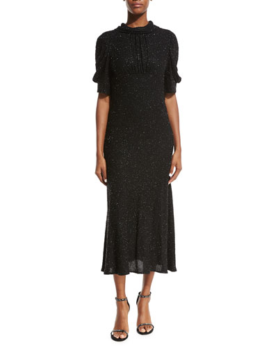 High-Neck Silk Georgette Dress