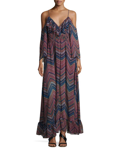 Karlii Cold-Shoulder Chiffon Maxi Dress