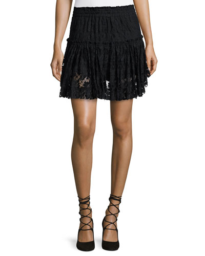 Marion Tiered-Lace Mini Skirt
