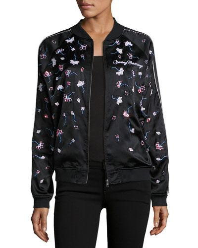 Embellished Silk Bomber Jacket, Black