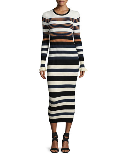 Long-Sleeve Striped Maxi Dress, Harvest White/Multicolor