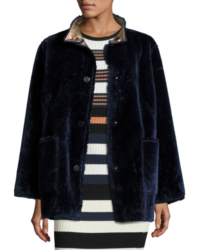 Culver Reversible Faux-Fur Coat, Deep Navy/Multicolor