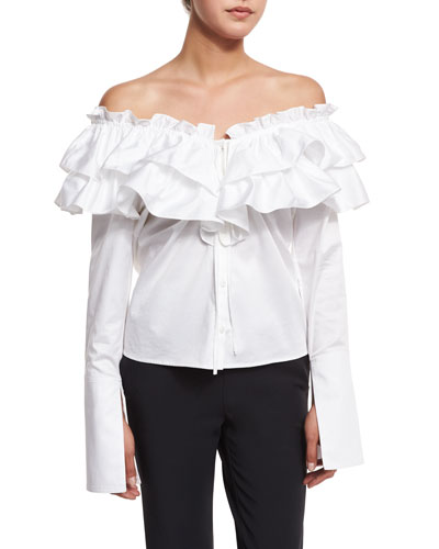 Sateen Layered Ruffle Top, White