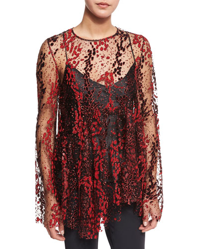 Long-Sleeve Enamel Glitter Sheer Top, Blaze Red