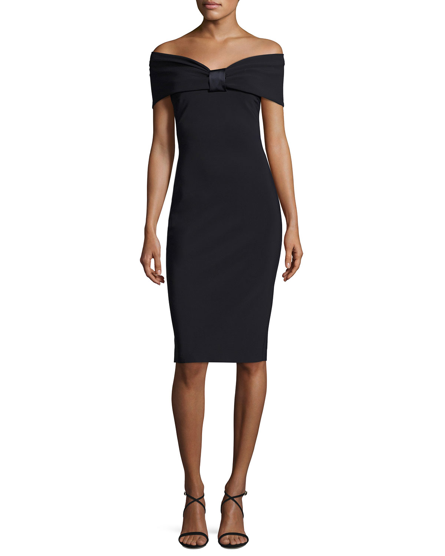 Maria Carla Off-the-Shoulder Jersey Cocktail Dress, Black