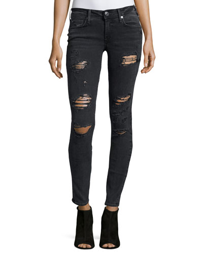 Casey Low-Rise Super-Skinny Jeans, Smoke Stack Destroyed
