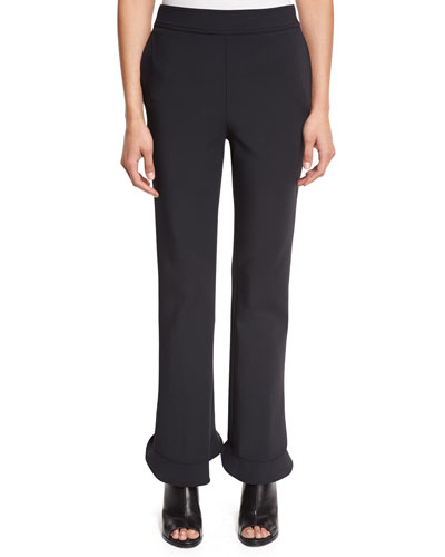 William Circle Ruffle-Hem Ponte Pants, Black