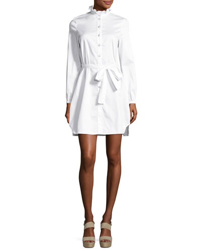 Long-Sleeve Belted Sateen Shirtdress, White