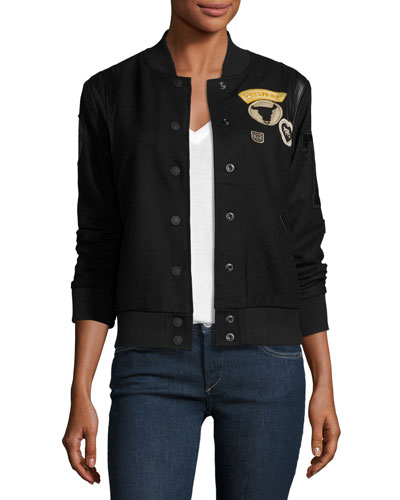 Leather-Trim Wool Varsity Jacket, Black