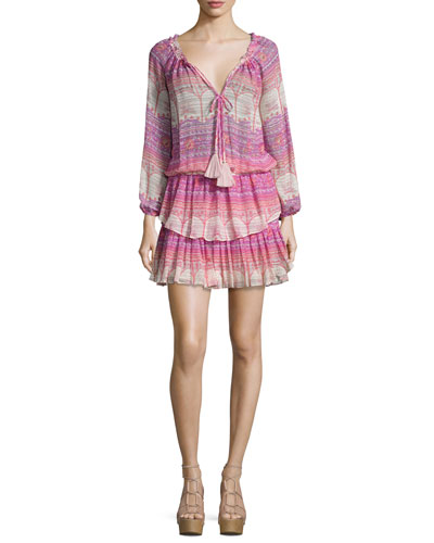 Batik-Print Georgette Ruffle Mini Dress