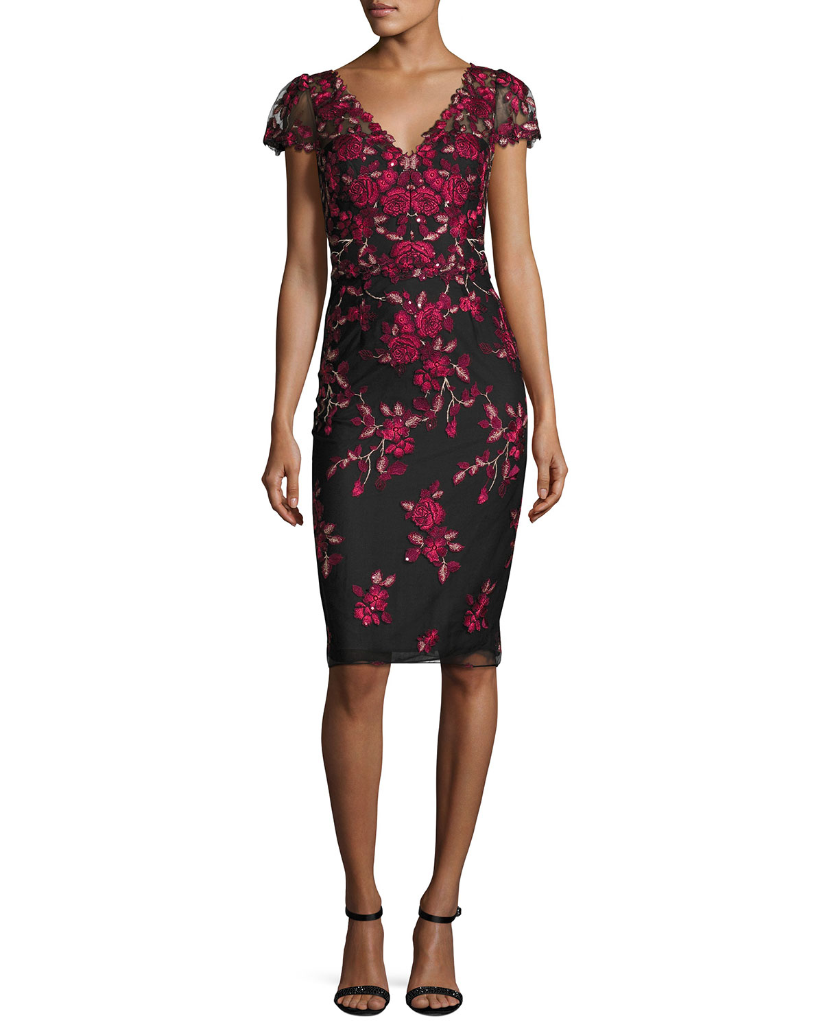 Rose-Embroidered Cap-Sleeve Cocktail Dress, Black