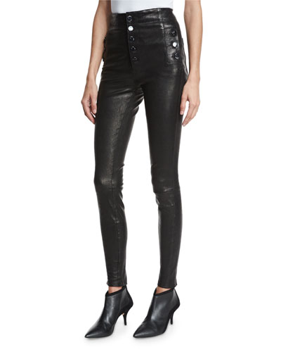 Natasha Sky High Leather Skinny Pants, Black