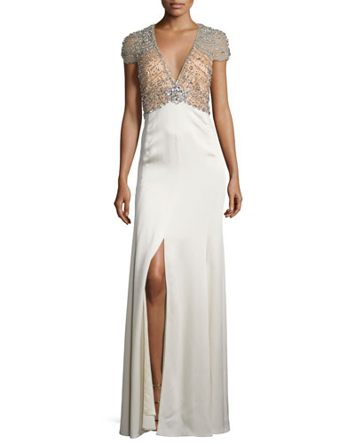 Sequined-Bodice Deep-V Gown, Illusion/Glass