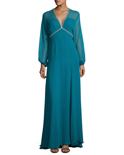 Beaded-Trim Slit-Sleeve V-Neck Gown, Emerald