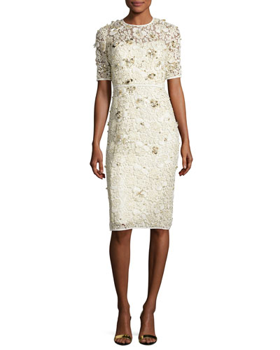 Beaded Lace Half-Sleeve Cocktail Dress, Ivory