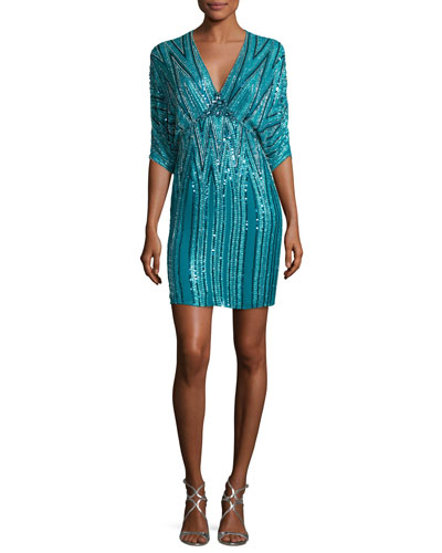 Zigzag-Beaded Dolman Cocktail Dress, Emerald