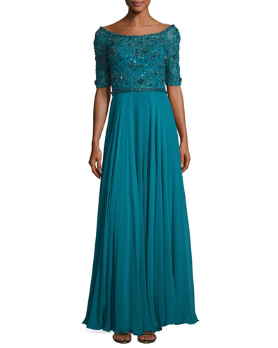 Sequined Half-Sleeve Boat-Neck Gown, Emerald