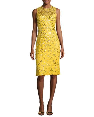 Floral-Sequin Lace Sleeveless Cocktail Dress, Dandelion