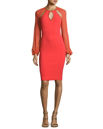 Beaded-Trim Cutout Cocktail Dress, Salsa