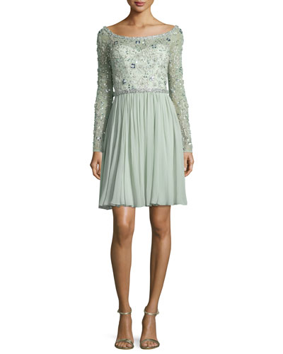 Beaded Long-Sleeve Boat-Neck Dress, Azure