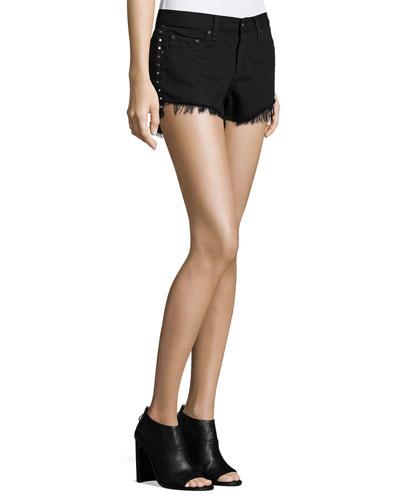 Studded Cut-Off Denim Shorts, Black