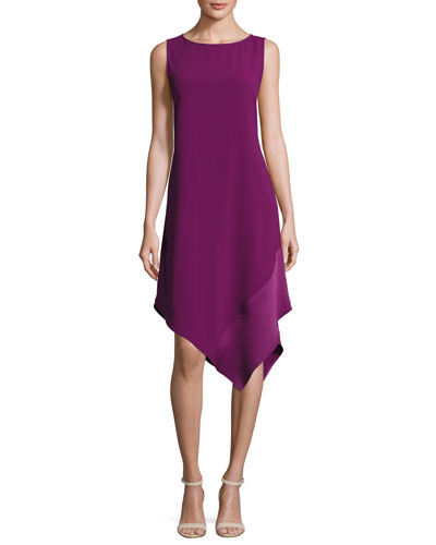 Sleeveless Asymmetric Crepe Cocktail Dress, Plum Blossom