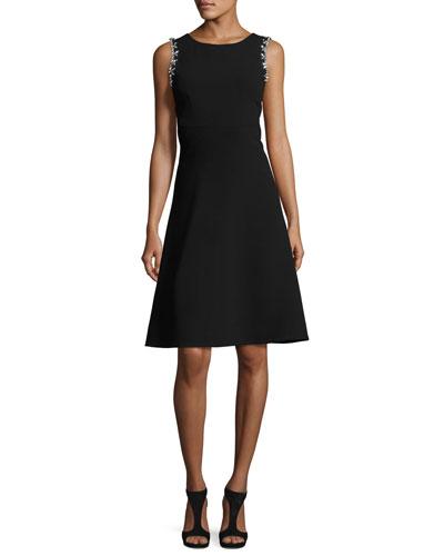 Sleeveless Embellished Classic Crepe A-Line Dress, Black