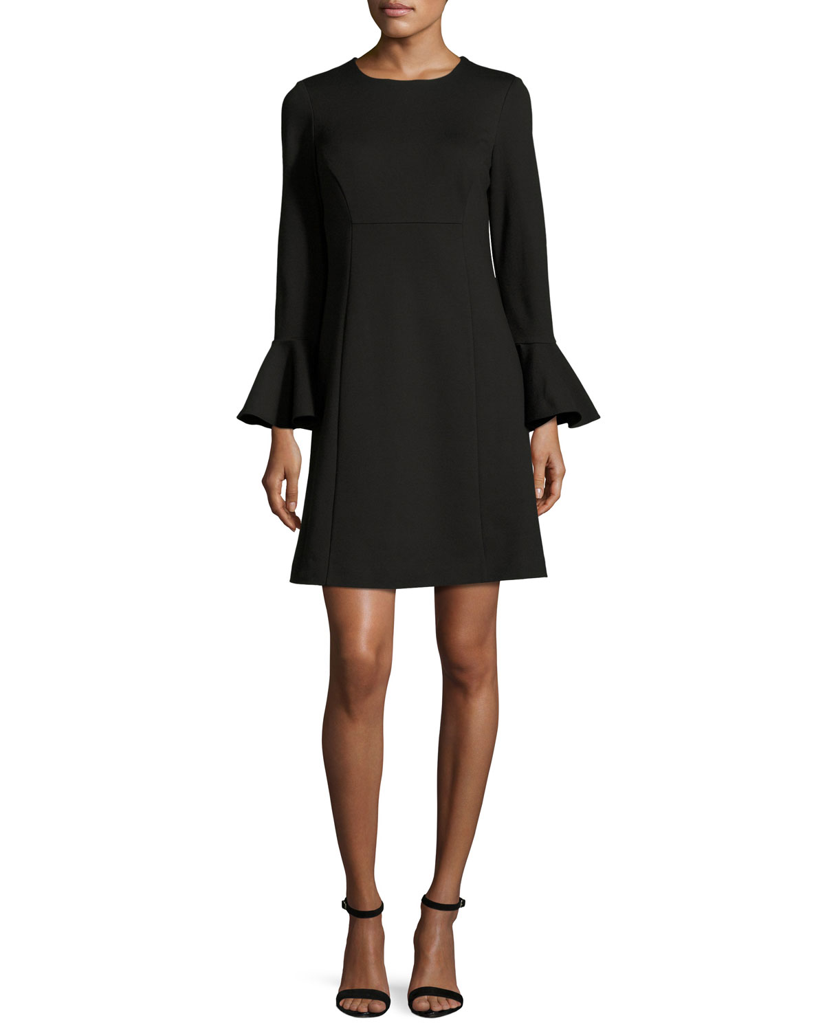 Bell-Sleeve Ponte Cocktail Dress, Black