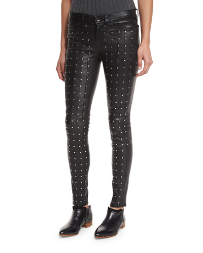 Hyde Studded Leather Skinny Jeans