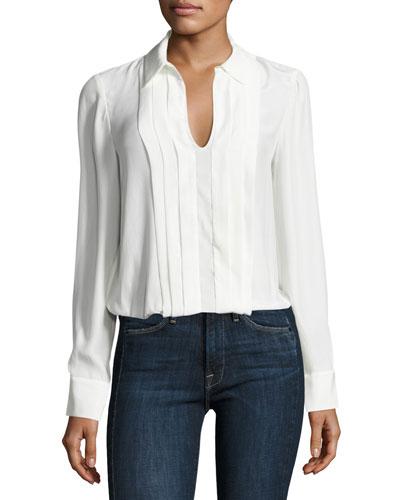 Pleated Split-Neck Silk Blouse, Blanc