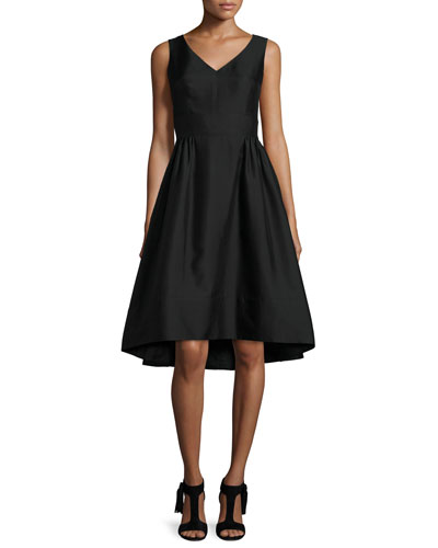 sleeveless fit-and-flare faille cocktail dress, black