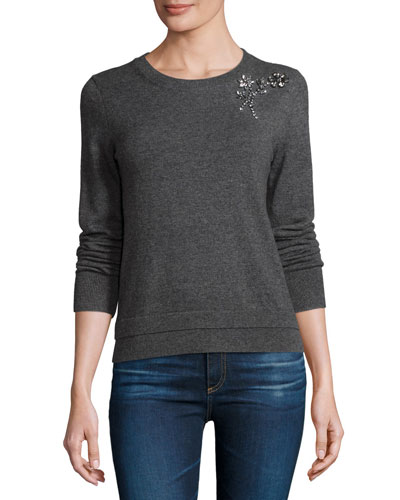embellished crewneck pullover sweater, mile gray melange