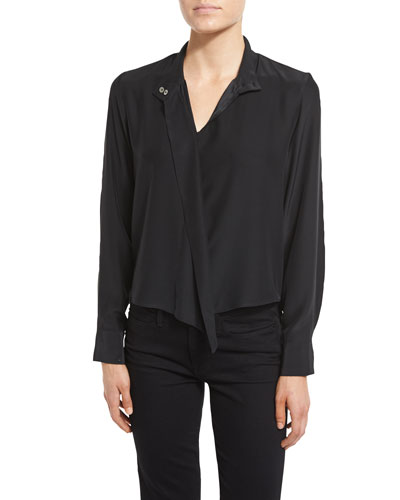 Long Sleeve Cravat Blouse, Noir