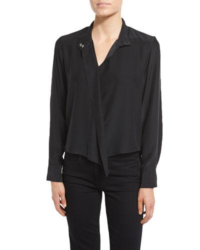 Long Sleeve Cravat Blouse, Noir