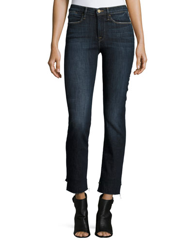Le High Straight Reverse-Stagger Raw-Edge Jeans, Northern