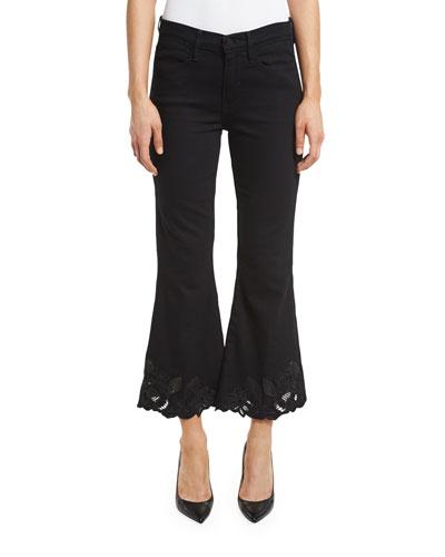 Le High Cropped Flare-Leg Floral-Hem Jeans, Noir