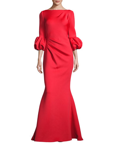 Bubble-Sleeve Crepe Mermaid Gown, Tomato