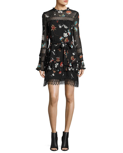 Whisper Floral Lace Silk Mini Dress, Black Multicolor