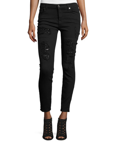 The Ankle Skinny Destroyed Jeans w/Sequins, Black Cut Out