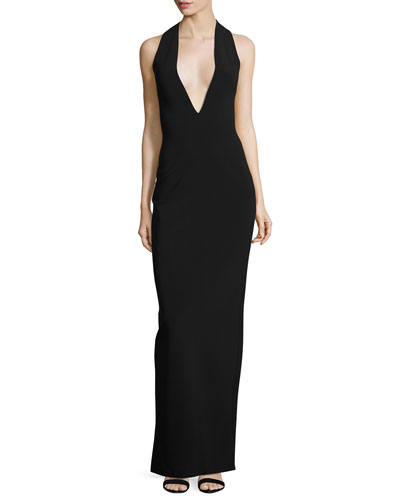 Grace Sleeveless Crepe Maxi Dress, Black