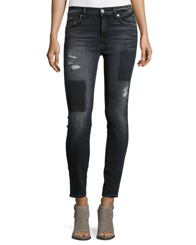 The Ankle Skinny Jeans w/Clean Patches, Black Shadow