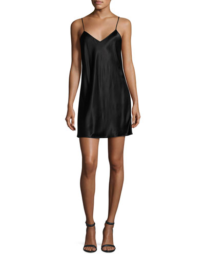 Racerback Satin Slip Tunic, Black