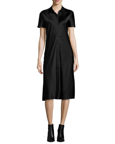 Short-Sleeve Collared Satin Shirtdress, Black