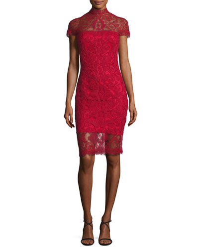 Short-Sleeve Lace Illusion Cocktail Dress, Deep Red