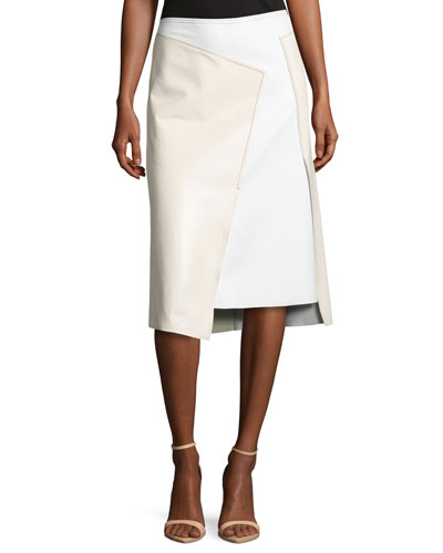 Asymmetric Leather Colorblock Skirt, Gesso