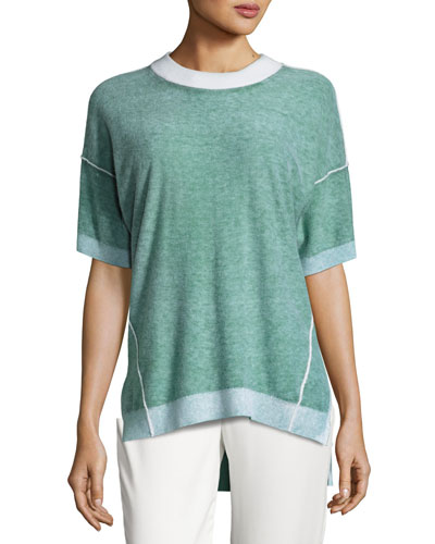 Short-Sleeve Reversible Cashmere Sweater, Verdigris