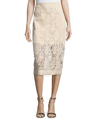 Floral Tulle Midi Skirt, Nude