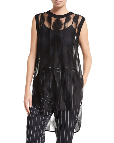 Sleeveless Sheer Patterned Tunic, Black