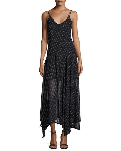 Sleeveless Striped Silk Handkerchief Dress, Black