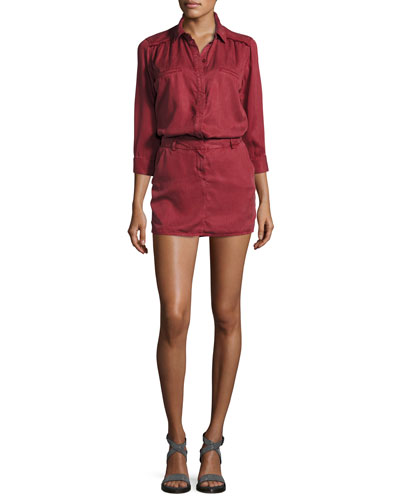 3/4-Sleeve Tunic Dress, Burgundy